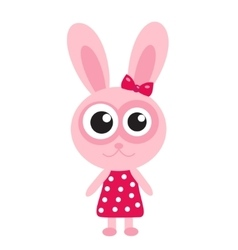 Cute pink bunny rabbit icon flat design vector image