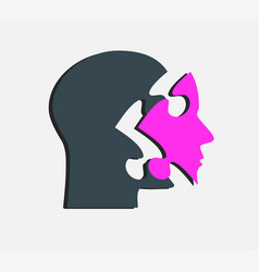 dark puzzle silhouette head and pink face vector image