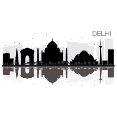 Delhi city skyline black and white silhouette vector