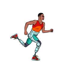 Disabled african man running with legs prostheses vector