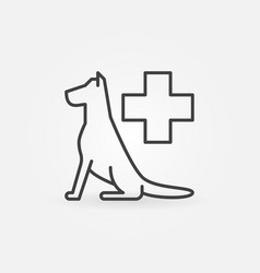 dog with cross line icon vector image