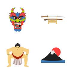 dragon mask katano a man is a sumo player a vector image