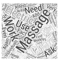Electric massage chair word cloud concept vector