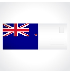 envelope with flag new zealand card vector image