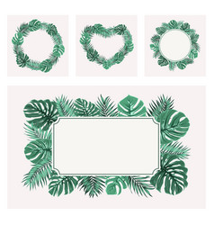 Exotic tropical green leaves border frame template vector