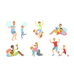 fathers and their kids having good time together vector image