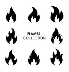 Flame and fire black icons vector