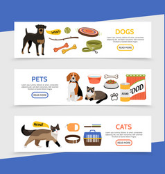 flat pet shop horizontal banners vector image