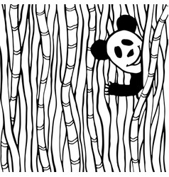 Funny panda in the bamboo forest coloring book vector