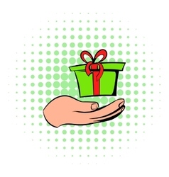 Gift red box in a hand icon comics style vector image