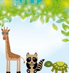 Giraffe raccoon and turtle funny cartoon animals vector image