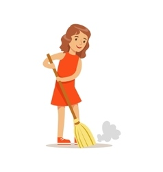 Girl Sweeping The Floor With The Broom Smiling vector