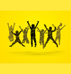 Group of children jumping together friend team w vector