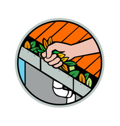 Hand cleaning rorain gutter icon vector