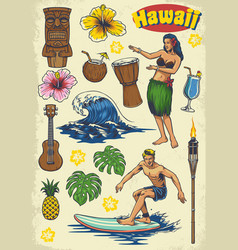 Hand drawing hawaii concept retro set vector