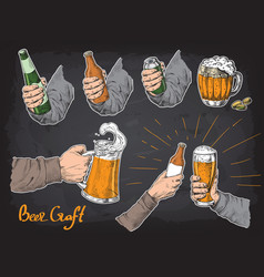 hands holding and clinking with beer glasses mug vector image