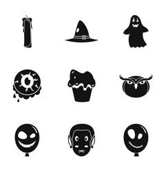 happy halloween icon set simple style vector image