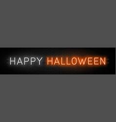 happy halloween neon text halloween neon vector image