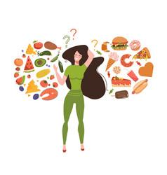 healthy vs unhealthy food concept junk versus vector image