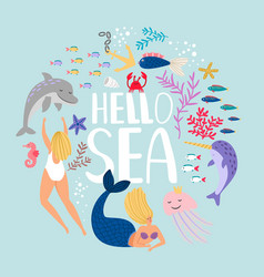 hello sea design t-shirt fish algae and sea vector image