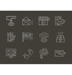 Internet services white line icons set vector image