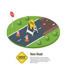 Isometric building a new road vector