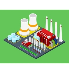 Isometric Building Industrial Factory with Pipes vector image