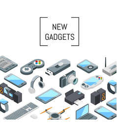isometric gadgets icons vector image