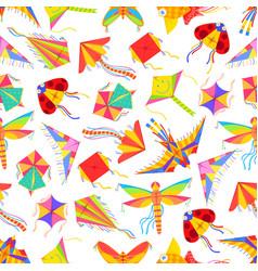 kid cartoon kites seamless pattern vector image