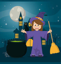 kid in halloween cartoon vector image