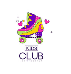 Kids club logo design bright badge for vector