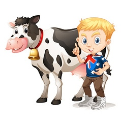 Little boy and a cow vector