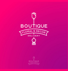logo boutique flowers home decor rose ribbon vector image
