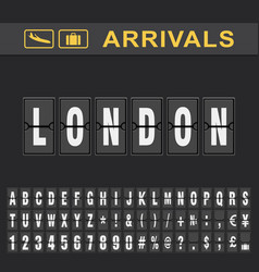 london airport time table for departures vector image