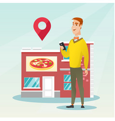 Man looking for a restaurant in his smartphone vector
