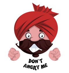 Man with turban is feeling angry on white vector