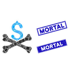 Mortal debt mosaic and grunge rectangle mortal vector