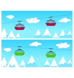 Mountain Ski Cableway vector