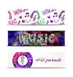 Music banners template with doodle lettering and vector