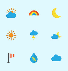 Nature flat icons set collection of sun crescent vector