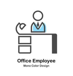 Office employee mono color vector