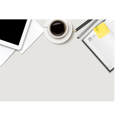 Office workspace - coffee tablet paper and some vector