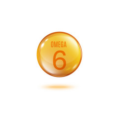 Omega 6 golden bubble with text isolated on white vector