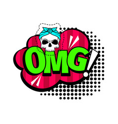 Omg cartoon patch vector