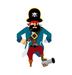 pirate angry filibuster evil buccaneer aggressive vector image