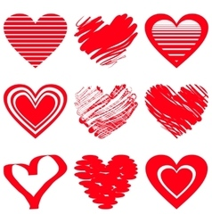 Red heart icons vector image