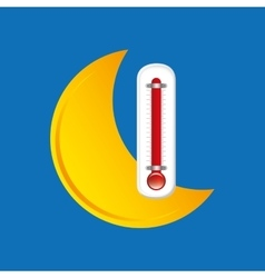 Red thermometer icon moon weather meteorology vector