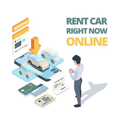 rent car online digital buying automobile or car vector image