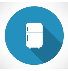 Retro refrigerator icon vector