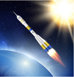rocket in space flying jet in cosmos vector image
